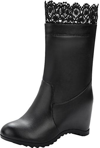 ELEHOT Donna Eleinfluence tacco western 7CM Leather Stivali, nero,