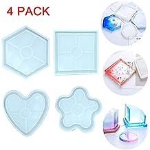 4 piezas El molde de resina de resina de silicona DIY,moldes de fundición epoxi