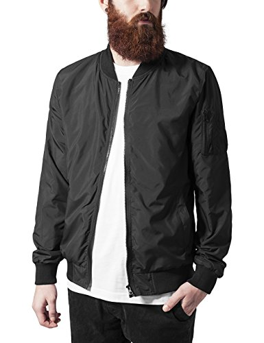 Urban Classics Herren Jacke Light Bomber Jacket, Schwarz (Black 7), X-Large