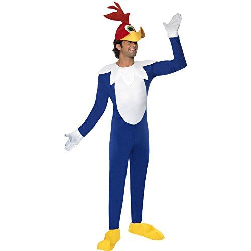 Smiffys Herren Woody Woodpecker Kostüm, Overall, Kopfbedeckung, Handschuhe und Überschuhe, Größe: M, 33596 (Halloween Kostüm Woody)