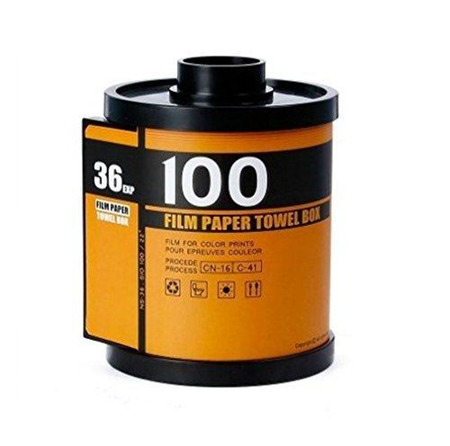 heyfair Neuheit Kamera Rolle Toilettenpapier Cover Halterung Film Kanister Tissue Spender Box, plastik, yelow, Size: 7.1 x 5.3 x 5.3 inches (Neuheit-film)