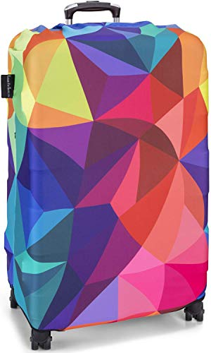 TakeCover elastische Kofferschutzhülle Kofferschutzbezug extra dick Gepäckschutz Kofferbezug Kofferhülle Luggage Cover Koffer Hülle Schutzbezug mit Reißverschluss (Bunt, L) (Koffer Bunt)