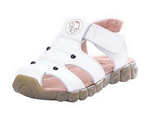 Evedaily Baby Sommer Schuhe Sandalen Lauflernschuhe rutschfest Lederschuhe 9908-2017 Weiß