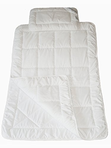 Luxusfeder - Atmungsaktives allergikergeeignetes Kinder Steppbett Set | 4-Jahreszeiten Bettdecke 100x135 cm + Kopfkissen 40x60 cm | Öko-Tex zertifiziert