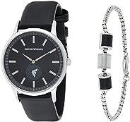 Emporio Armani Men's Black Dial Stainless Steel Analog Watch - AR8