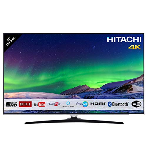 Hitachi Téléviseur de 43' (107,9cm) 4K / Smart TV: Netflix, Youtube/WiFi - Ethernet/Bluetooth / 3 HDMI/VGA-PC / 2 USB