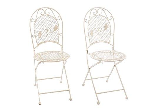 Chaises de jardin - fer - style antique - crème/blanc
