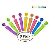 P & E 9 Stück Eis am Stiel Formen aus Silikon, Ice Pop Maker mould set, Quadratische Eisformen aus 100% Lebensmittelsilikagel, BPA Frei, Ideal für DIY Selbstgemachtes Eis für Kinder und Erwachsene (Zufällige Farben)
