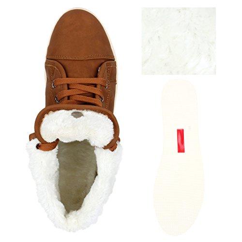 Warm Gefütterte Damen Sneakers High Kunstfell Schnallen Flats Braun