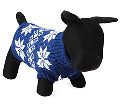 Doggie Style Store Blue Leaf Design Knitted Pet Dog Cat Sweater Jumper Knitwear - 6 Sizes