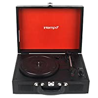 Intempo EE2430BLKSTK Rechargeable Wireless Bluetooth Wooden Effect Record Player Turntable, Black