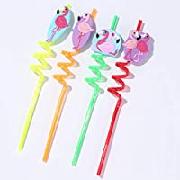 Xinqin Ding Flamingo Straw Spiral Reusable Straw Design Assorted Color Accessories for Bar Drinks, Party Cocktail Decoration (Four)