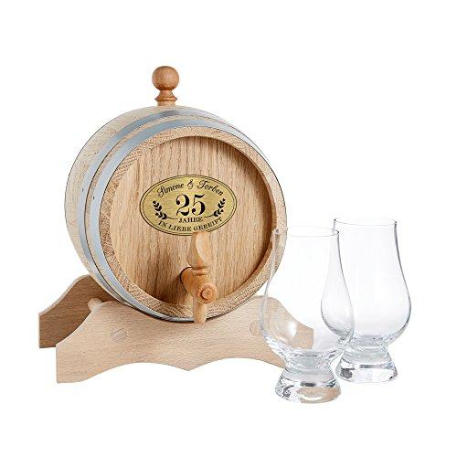 Holzfass für Schnaps mit zwei Gläsern zur Silberhochzeit – Personalisiert mit [Wunschnamen] und [Datum] –– mit Ständer, Stopfen und Hahn – Geschenk zum Jahrestag –Geschenkidee zum 25. Hochzeitstag