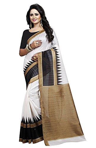 Fashion Dream Women's Bhagalpuri Silk White And Black Color saree With Blouse...