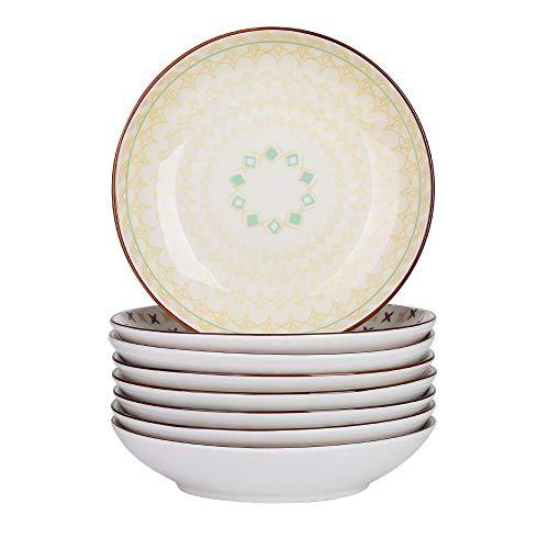 vancasso, série Haruka, Assiette Creuses, Assiette à Soupe, 8 pièces, en Porcelaine, Style Japonais