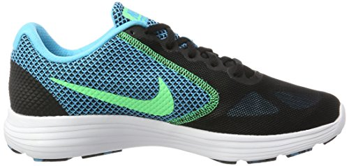 Nike Revolution 3, Scarpe Running Uomo Multicolore (Black/electro Green-chlorine Blue-white)