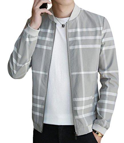 MU2M Men Slim Fit Baseball Bomber Jacket Casual Plaid Outerwear Coat