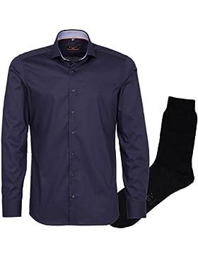 ETERNA Herrenhemd Slim Fit, blau, Uni Stretch, Haifisch Kragen + 1 Paar hochwertige Socken, Bundle