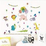 bande dessinée petits animaux avec des ballons colorés stickers muraux chambre...