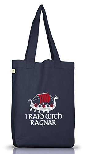 Shirtstreet24, I RAID WITH RAGNAR, Vikings Jutebeutel Stoff Tasche Earth Positive (ONE SIZE) Jeans Blue