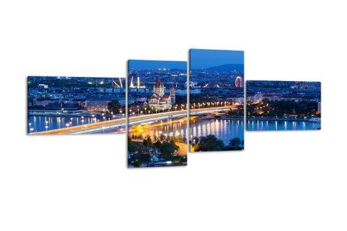 Leinwandbild Wien bei Nacht LW220 Wandbild, Bild auf Leinwand, 4 Teile, 100x45cm, Kunstdruck Canvas, XXL Bilder, Keilrahmenbild, fertig aufgespannt, Bild, Holzrahmen, Östereich, Wien, Prater,