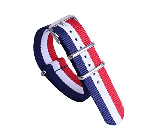 12mm dunkelblau / weiß / rot-High-End-Luxus-NATO-Stil Nylongewebe Uhrenarmband-Bügel Ersatz für Mädchen