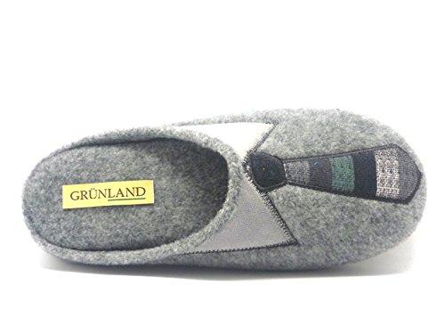 Grünland Cley CI0850 pantoufles en tissu gris homme cravate Grigio