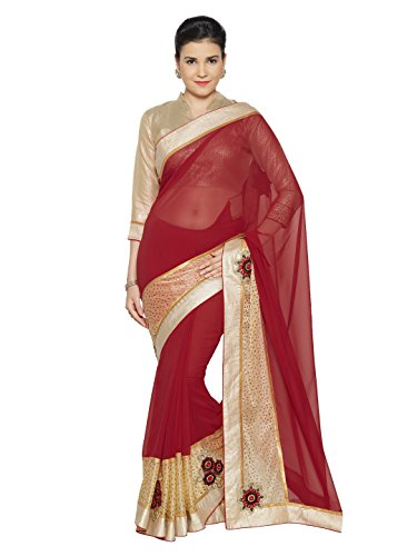 SOURBH Women's Faux Georgette Shimmer Saree (4136_Red,Beige)
