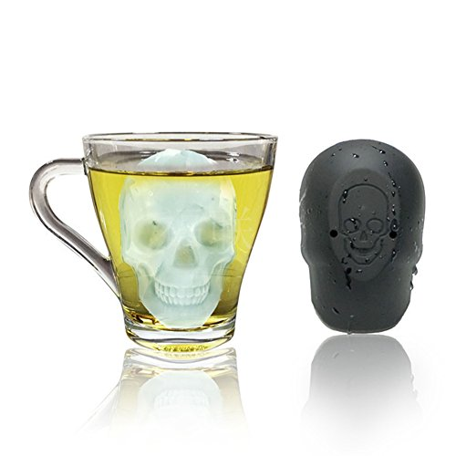 Skull Head Ice Cube Tray Chocolate Pudding Candy Mold Halloween Kitchen Tool-Black ()