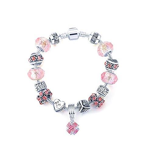 LQT - Rose d'amour - Bracelet charms pour Femme orné de Perles en Cristal et Plaqué or blanc avec Pendentif Rose Cadeau Anniversaire