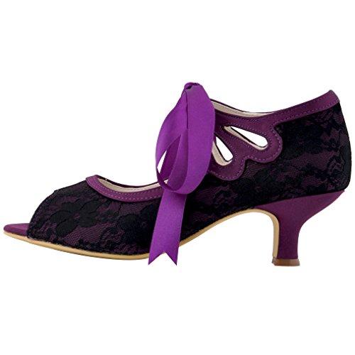 ElegantPark HP1522 Femme Ruban Pumps Chaussures de mariee mariage bal danse Noir