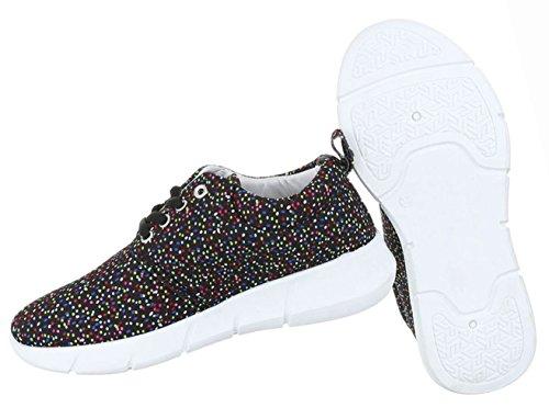 Damen Schuhe Freizeitschuhe Sportschuhe Sneaker Schwarz Multi Schwarz