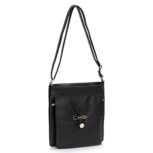 Xardi London-Custodia in pelle, stile borsetta-Borsa a spalla da donna Nero (nero)