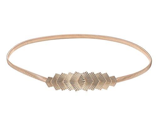 Babeyond Damen Metall dekorativen Gürtel dünnen Gürtel elastischen Taille Strap Stretchy Gürtel für Kleider (Style-5)