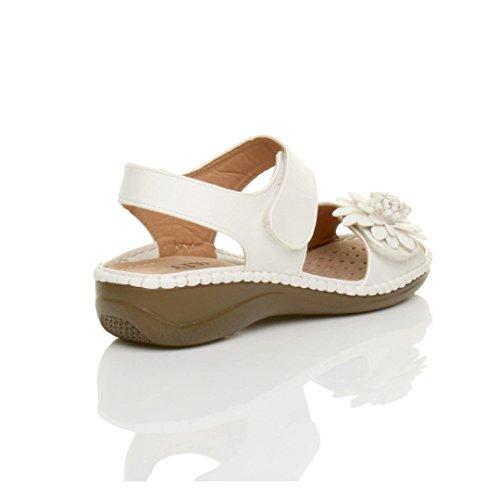 Damen Kleiner Keilabsatz Klettband Slingback Blume Komfort Sandalen Größe Weiß