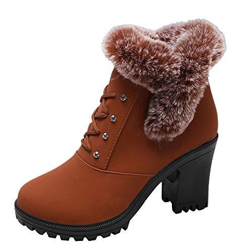 MYMYG Damen Stiefeletten Ankle Boots mit Halbhohe Blockabsatz Frauen High Heel Schuhe Martain Boot Leder Reißverschluss Plus SAMT Runde Zehe Schuhe Chelsea Boots