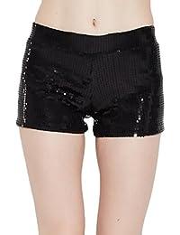 Hosen Damen High Waist Elastische Taillen Kurz Hose Festlich Elegant  Vintage Hippie Pailletten Hotpants Shorts Pants f55367d574