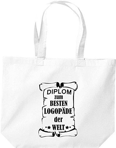 Shirtstown große Einkaufstasche, Diplom zum besten Logopäde der Welt, Weiß
