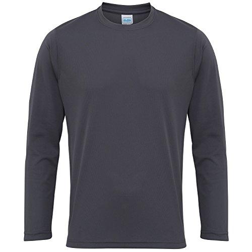 Just Cool Herren T-Shirt Langarm Cool Performance L,Graphit (Langarm-shirt Graphit)