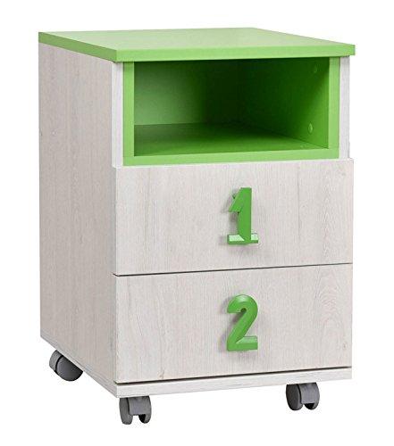 Kinderzimmer - Rollcontainer Luis 23, Farbe: Eiche Weiß/Grün - 60 x 40 x 42 cm (H x B x T)