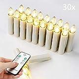 Candele natalizie a LED senza fili, con telecomando, a intensità variabile, luce bianca calda, per albero di Natale, 30 pezzi