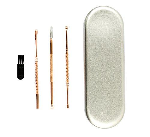 Ranvi Ohrenschmalz-Entfernungs-Kit mit Aufbewahrungsbox und Reinigungsbürste - komfortable Edelstahl-Medizin-Picks & Ohr-Küretten für effektive Ohrenschmalzentfernung, 3 Stück, Roségold