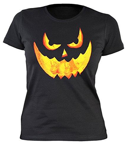 Halloween Damen T-Shirt - coole Sprüche / Motive für Halloween : Halloween Pumpkin -- Damenshirt Grusel Gesicht Kürbis Gr: L (Schnitt Gesicht Halloween Kürbis)