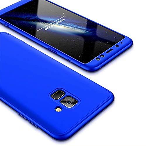 MISSDU kompatibel mit Premium Hart PC 360 Grad Hülle Samsung Galaxy A6 2018 Hülle + Panzerglas,3 in1 Handytasche Handyhülle Schutzhülle Cover - Blau