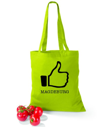Artdiktat Baumwolltasche I like Magdeburg Lime Green