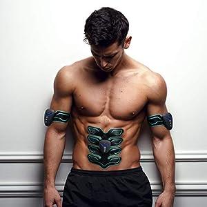 Ovinni Smart EMS Elektrischer Muskeltrainer Muskelstimulator Bauchmuskeltrainer Abdominal Muscle Trainer Fitnessgeräte für Muskelaufbau, Fettverbrennung, Figurformer, Abnehmen