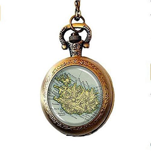 Island-Karte, Taschenuhr, Halskette, Halskette mit Island-Karte, Vintage-Kartenschmuck