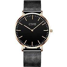 049e355a6382 CIVO Relojes de Hombre Lujo Impermeable Ultra Fino Reloj de Acero  Inoxidable Minimalista Moda Deportivo Casuales