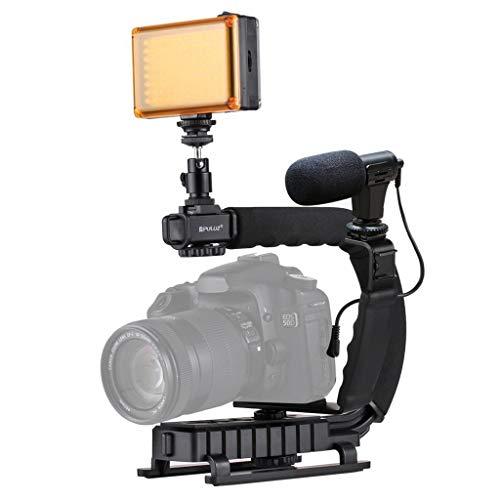 Kamera Stabilizer Action Camcorder Spiegelreflexkamera Stabilisator DV Halterung Stabilisator LED Studio Licht Video Mikrofon Kit Kaltschuh Stativ für Gopro/SLR Handkamera-Videostabilisator (Black) Standard-studio-kit