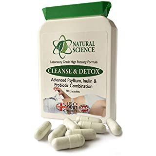 Colon Bowel CLEANSE, DETOX, PROBIOTIC - ideal combination; psyllium, inulin, probiotic - strong but gentle Psyllium cleanse - PLUS 3 Billion Friendly Bacteria - PLUS the probiotic supporting Inulin - 60 capsules Made in UK
